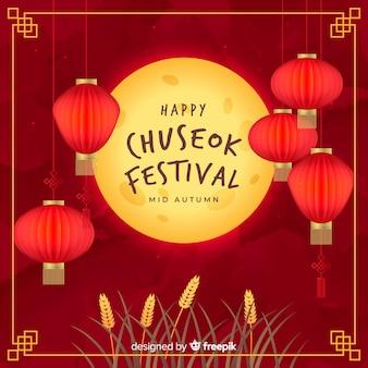 Platte ontwerp van chuseok volle maan