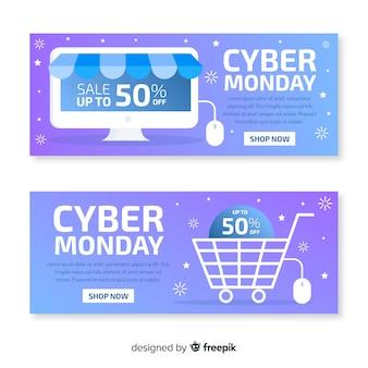 Platte ontwerp van cyber maandag banners