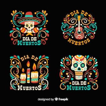 Platte ontwerp van de dag van de dode badge