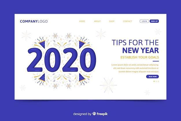 Platte ontwerp van de nieuwjaars-bestemmingspagina