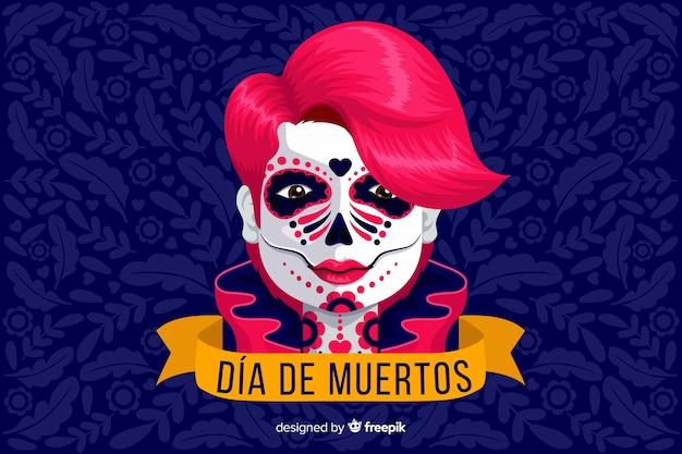 Platte ontwerp van dia de muertos achtergrond