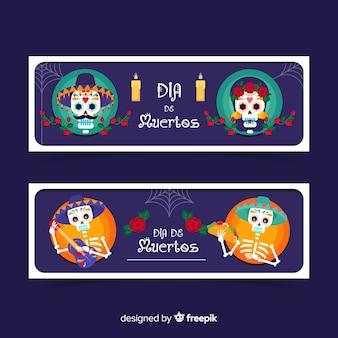 Platte ontwerp van dia de muertos banners