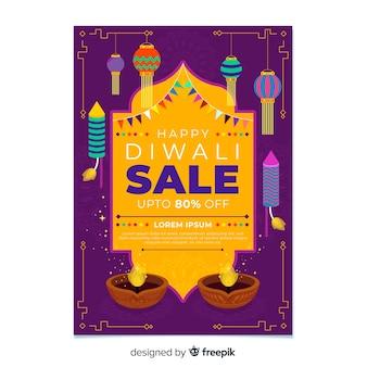 Platte ontwerp van diwali verkoop folder sjabloon