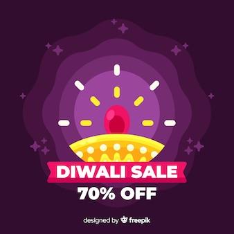 Platte ontwerp van diwali verkoop met verloop