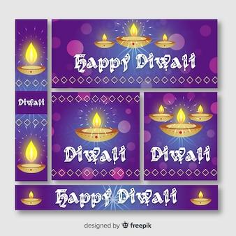 Platte ontwerp van diwali webbanners