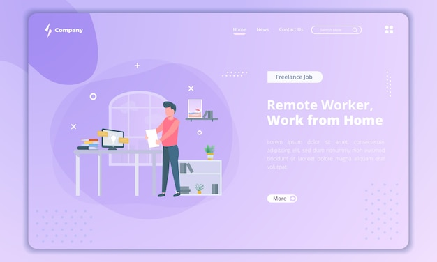 Platte ontwerp van externe werknemer als freelancer, werk vanuit huis concept op bestemmingspagina