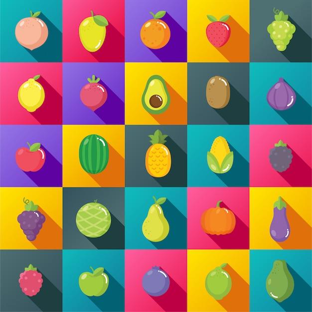 Platte ontwerp van fruit kleurrijke set