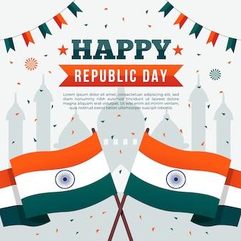 Platte ontwerp van gelukkige indiase republiek dag