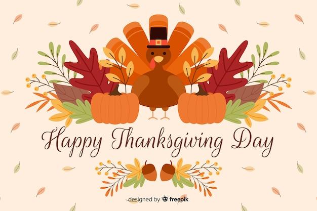 Platte ontwerp van gelukkige thanksgiving achtergrond