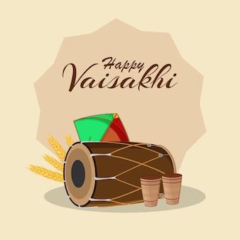 Platte ontwerp van gelukkige vaisakhi indische sikh festivalviering