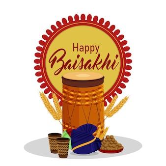 Platte ontwerp van gelukkige vaisakhi-viering met creatieve dhol en pagadi