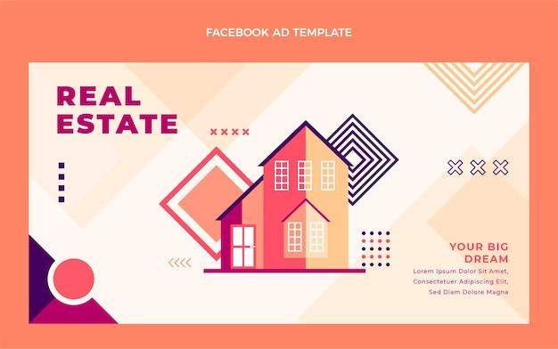 Platte ontwerp van geometrisch onroerend goed facebook-advertentie