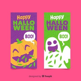 Platte ontwerp van groene en paarse banners