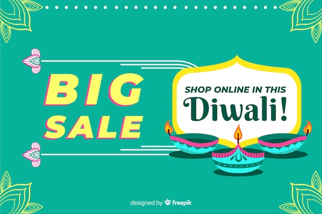 Platte ontwerp van grote verkoop online voor diwali