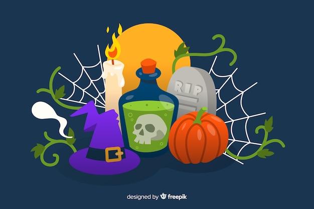 Platte ontwerp van halloween-achtergrond