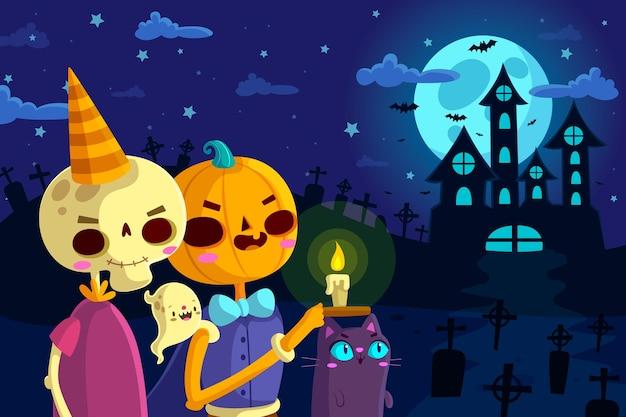 Platte ontwerp van halloween achtergrondkleur