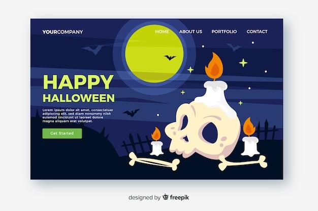 Platte ontwerp van halloween bestemmingspagina