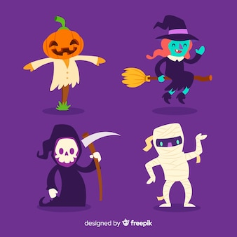 Platte ontwerp van halloween character collection