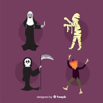 Platte ontwerp van halloween character collection