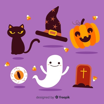 Platte ontwerp van halloween element collectie