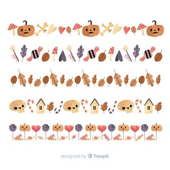 Platte ontwerp van halloween grens collectie