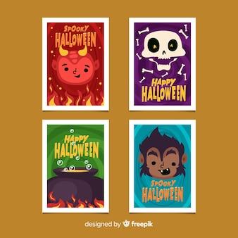 Platte ontwerp van halloween kaartverzameling