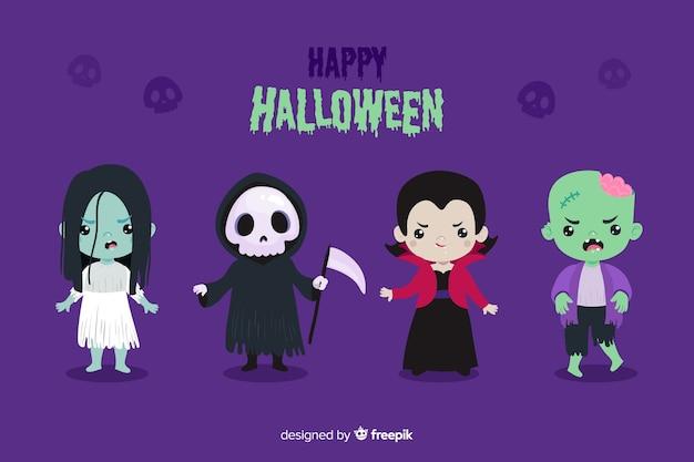 Platte ontwerp van halloween karakter