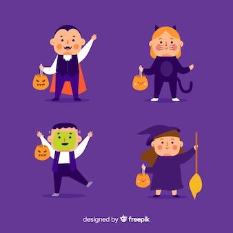 Platte ontwerp van halloween kind collectie