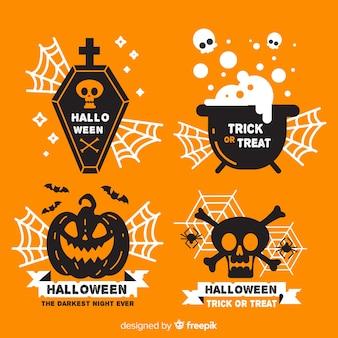Platte ontwerp van halloween label collectie