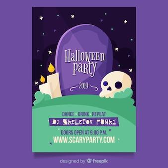 Platte ontwerp van halloween partij poster sjabloon