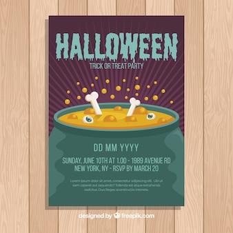 Platte ontwerp van halloween party folder sjabloon