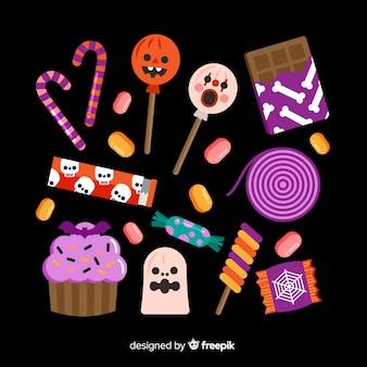 Platte ontwerp van halloween snoep collecion