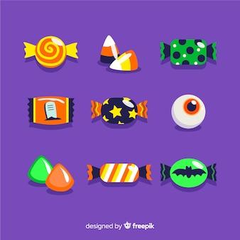 Platte ontwerp van halloween snoep collectie