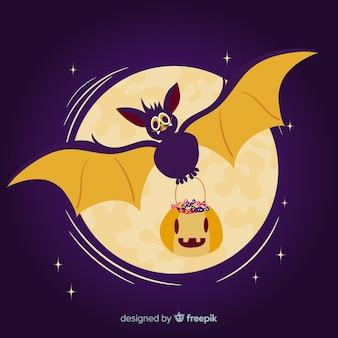 Platte ontwerp van halloween vleermuis