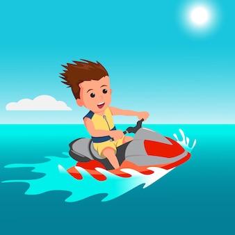 Platte ontwerp van happy cartoon jongen jetski rijden
