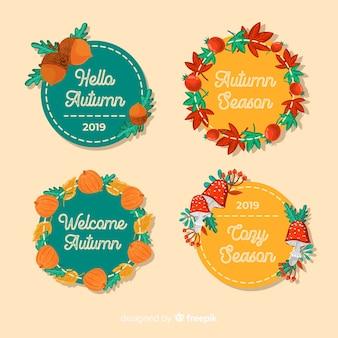 Platte ontwerp van herfst badge collectie