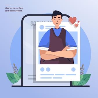 Platte ontwerp van het plaatsen van foto op sociale media concept