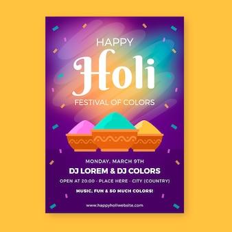 Platte ontwerp van holi festival flyer feest met kleurrijke poeder verf