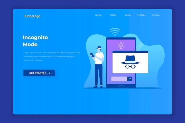 Platte ontwerp van incognito browsen concept
