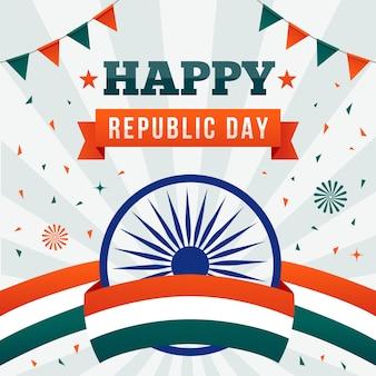 Platte ontwerp van indiase republiek dag met vlag lint en slingers