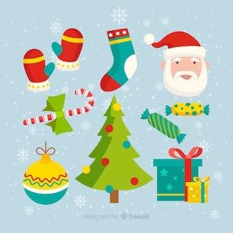 Platte ontwerp van kerst element collectie