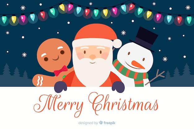 Platte ontwerp van kerstmis achtergrond