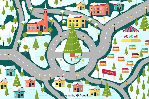 Platte ontwerp van kerststad