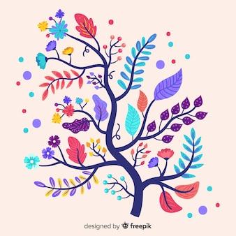 Platte ontwerp van kleurrijke bloementak