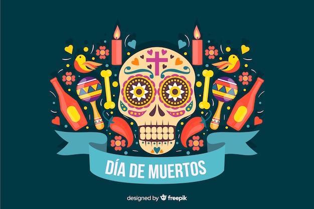Platte ontwerp van kleurrijke dia de muertos achtergrond