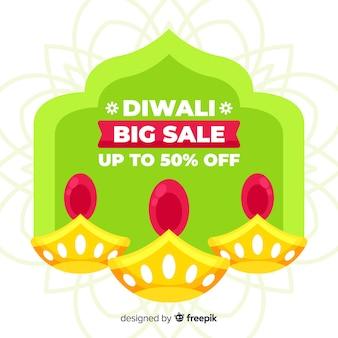 Platte ontwerp van kleurrijke diwali verkoop