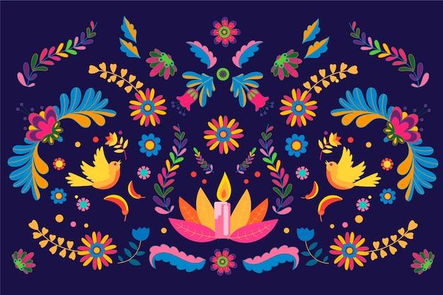Platte ontwerp van kleurrijke mexicaanse achtergrond