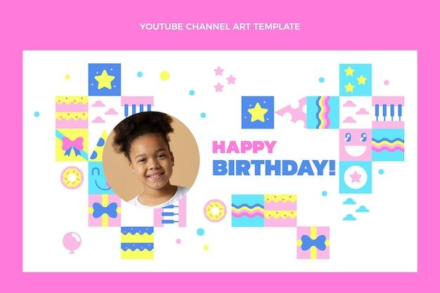 Platte ontwerp van mozaïek verjaardag youtube kanaalkunst