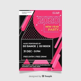 Platte ontwerp van nieuw jaar 2020 partij poster sjabloon