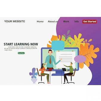 Platte ontwerp van online onderwijs.